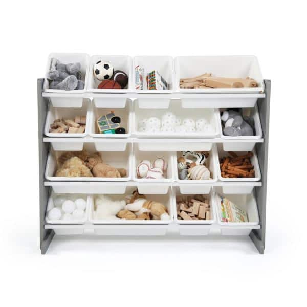 Humble Crew Springfield Grey/White Super-Sized Toy Organizer with 16-Bins   The Home Depot