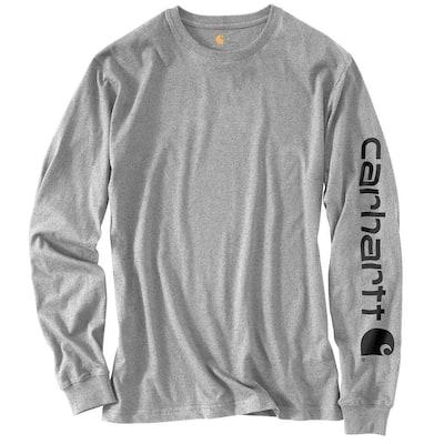 Men's Regular Medium Heather Gray Cotton/Polyester Long-Sleeve T-Shirt