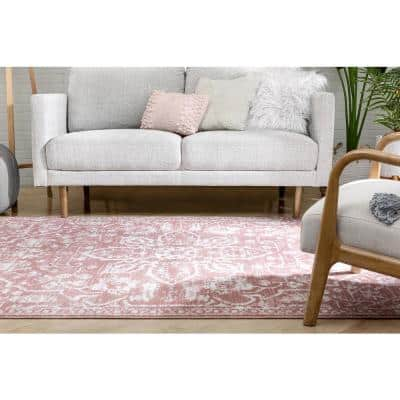Dazzle Disa Blush Vintage Distressed Medallion Oriental 5 ft. 3 in. x 7 ft. 3 in. Area Rug
