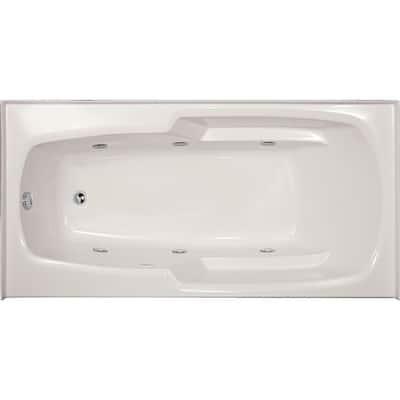 Entre 60 in. x 32 in. Rectangular Drop-in Whirlpool Bathtub in White