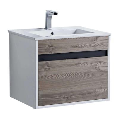 Alpine 24 in. W x 18.11 in. D x 19.75 in. H Bathroom Vanity Side Cabinet in Gray Walnut with White Ceramic Top