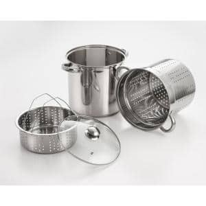 4-Piece 12 Qt. Professional 18/10 Stainless Steel Multi-Cooker with Lid