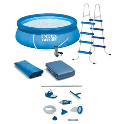 Easy Set 15 ft. Round 48 in. Deep Above Ground Inflatable Pool with Ladder, Pump and Deluxe Pool Maintenance Kit