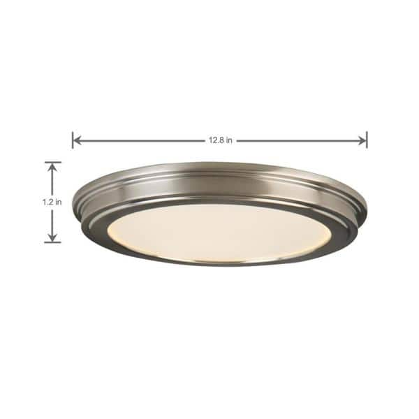 Commercial Electric 13 In Brushed Nickel Led Ceiling Flush Mount With White Acrylic Shade 2 Pack Jju3011l Bn The Home Depot