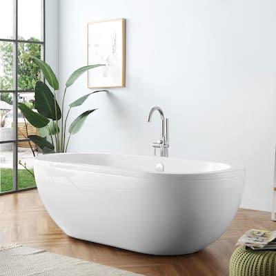 Serenity 71 in. Acrylic Double Slipper Flatbottom Non-Whirlpool Center Drain Bathtub in White