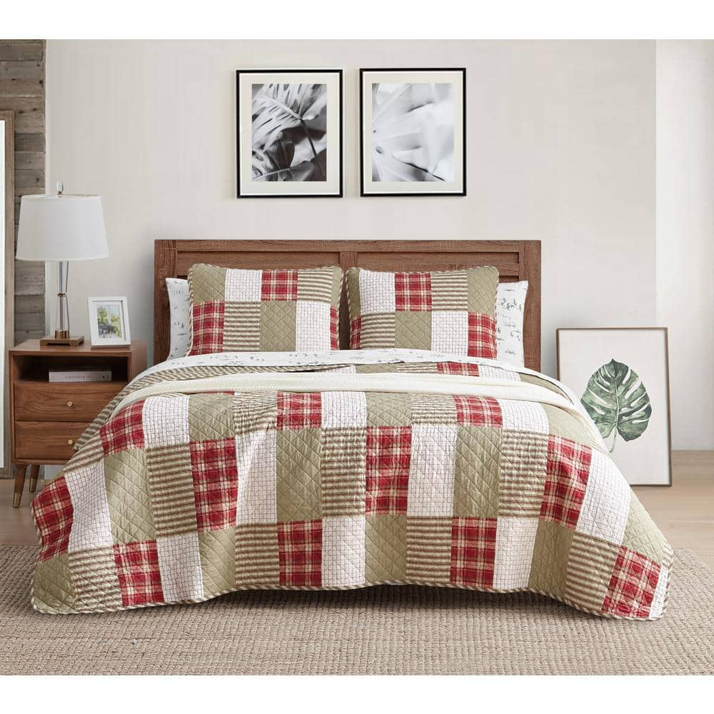 Eddie Bauer Camano Island 3 Piece Red Plaid Cotton King Quilt Set 206695 The Home Depot