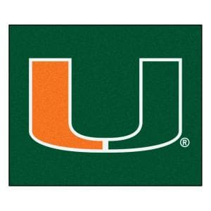 NCAA University of Miami Florida Green 5 ft. x 6 ft. Indoor/Outdoor Tailgater Area Rug
