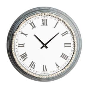 White Metal Farmhouse Wall Clock