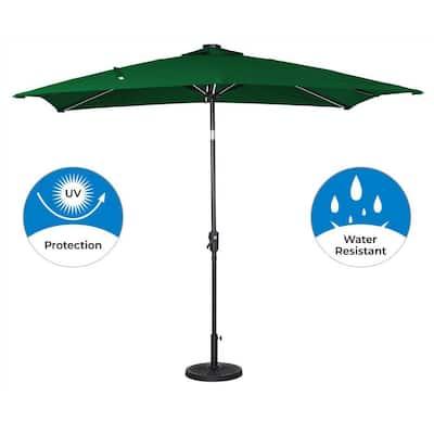 9 ft. x 7 ft. Rectangular Next Gen Solar Lighted Market Patio Umbrella in Hunter Green