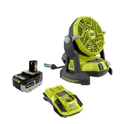 ONE+ 18V 2-Speed Bucket Top Misting Fan with HIGH PERFORMANCE 4.0 Ah Battery and Charger Kit