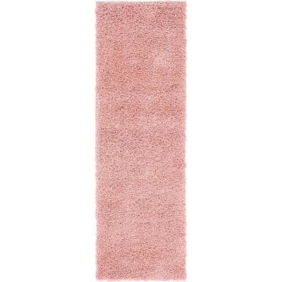 Davos Shag Dusty Rose Pink 2 ft. x 6 ft. Runner Rug