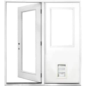 60 in. x 80 in. Clear Lite Primed White Fiberglass Prehung Right-Hand Inswing Center Hinge Patio Door with Med Pet Door