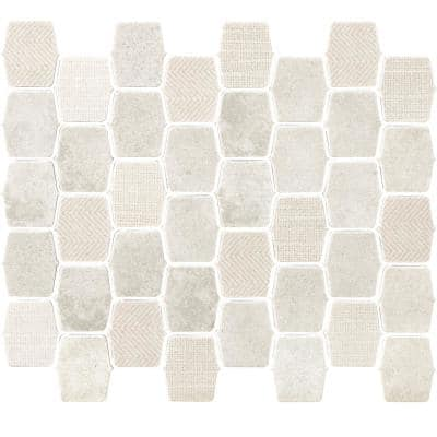 Organic Strands Ivory 9.8 in. x 12.11 in. x 6mm Matte Glass Composite Lantern Mesh-Mounted Mosaic Tile