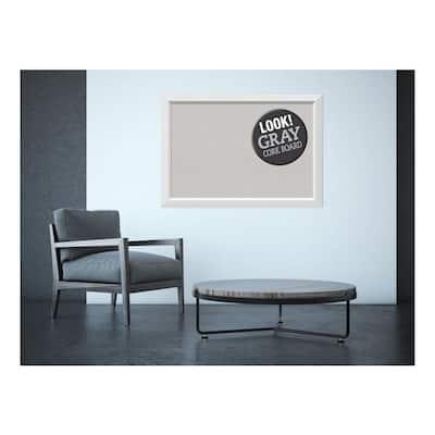 Blanco White Wood 40 in. x 28 in. Framed Grey Cork Board