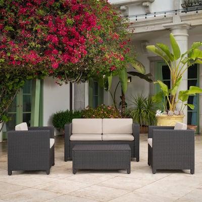 4-Piece Wicker Patio Conversation Set with Beige Cushions