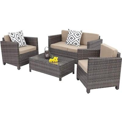 4-Piece PE Rattan Wicker Outdoor Patio Furniture Set in Grey