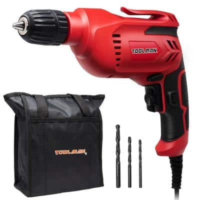 5-Amp Corded 3/8 in. Chuck Variable Speed Reversible Power Drill Accessories Included 28-Piece Drill Set and Tool Bag