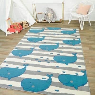 Wonderful Whale Teal 5 ft. x 7 ft. Area Rug