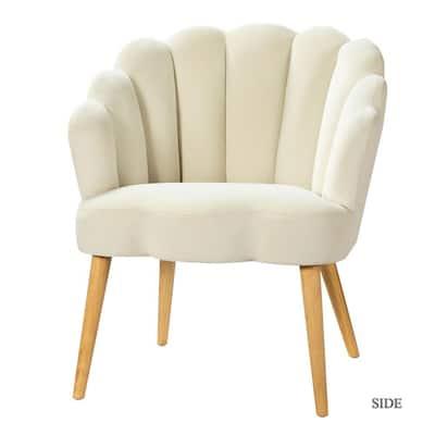 Flora Ivory Scalloped Velvet Arm Chair