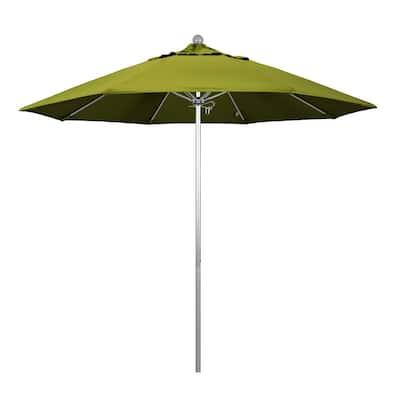 9 ft. Fiberglass Market Pulley Open S Anodized Patio Umbrella in Kiwi Olefin