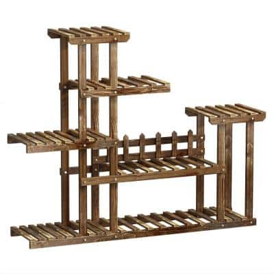 6-Tier Display Rack Indoor Outdoor Bamboo Plant Stand Garden Flower Pot Holder With Fence to Prevent Falling