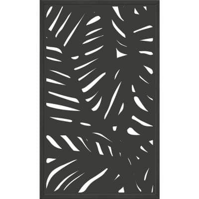 5 ft. x 3 ft. Charcoal Gray Composite Framed Decorative Fence Panel Featured in the Palm Design
