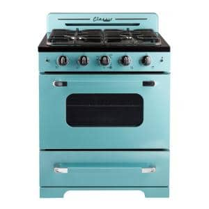 Classic Retro 30 in. 3.9 cu. ft. Retro Gas Range with Convection Oven in Ocean Mist Turquoise