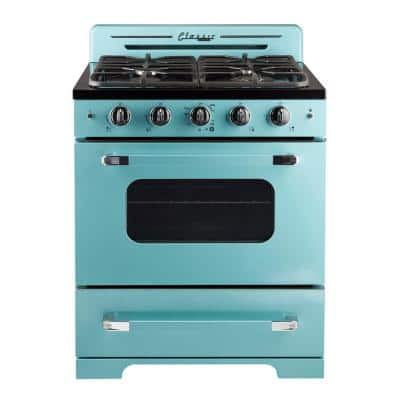 Classic Retro 30 in. 3.9 cu.ft. Gas Range with Convection Oven in Ocean Mist Turquoise