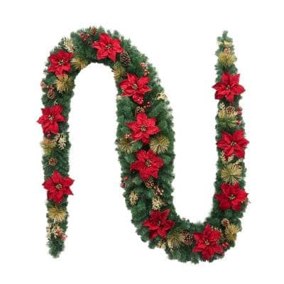 17 ft. Burgundy Poinsettia Mixed Pine Garland with Berries and Gold Glitter Cedar