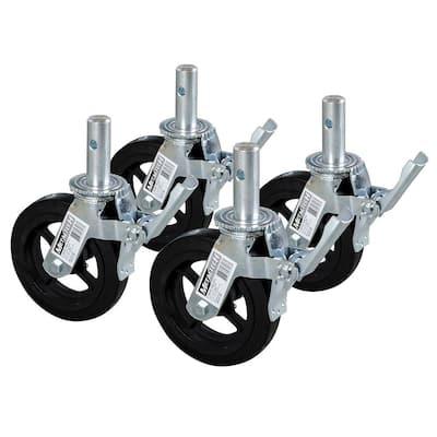 8 in. Scaffolding Caster Wheel in Heavy Duty Zinc/Aluminum Coated Steel with Safety Dual Lock Brake (4-Pack)