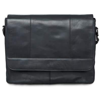 Buffalo Collection Black Leather Messenger Bag for 15 in. Laptop