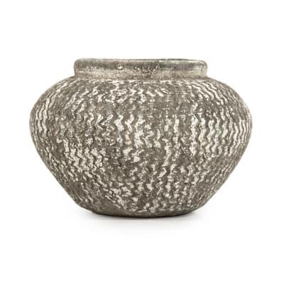 Cement Wavy Grey Small Decorative Vase