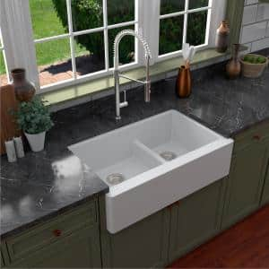 Farmhouse Apron Front Quartz Composite 34 in. Double Offset Bowl Kitchen Sink in White