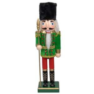 14 in. Decorative Wooden Green Red and Gold Christmas Nutcracker Soldier with Spear