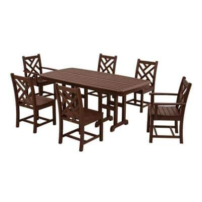Chippendale Mahogany 7-Piece Plastic Outdoor Patio Dining Set