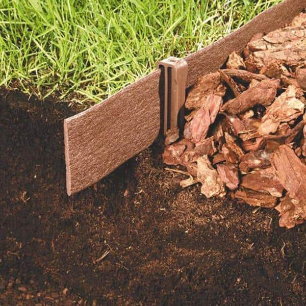 Master Mark Terrace Board 5 In X 40 Ft Brown Landscape Lawn Edging With Stakes 95340 The Home Depot