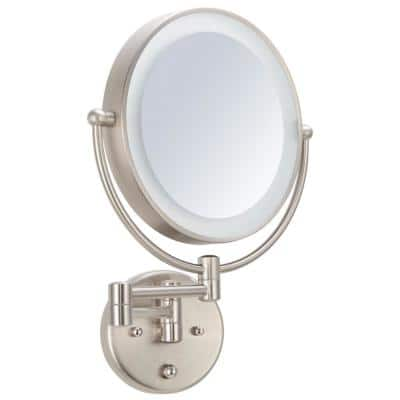 9 in. W x 15 in. H Framed 2 Sided 8x Mag Bi Fold Dimmable LED Light Makeup Mirror in Brushed Nickel