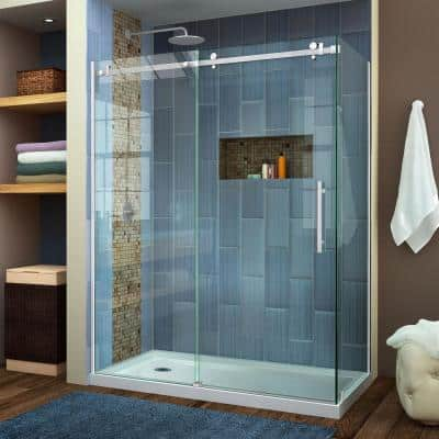 Enigma Air 60-3/8 in. x 76 in. Frameless Corner Sliding Shower Door in Polished Stainless Steel with Handle