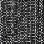 Moroccan Hype Boho Vintage Diamond Black/Ivory 5 ft. Square Area Rug