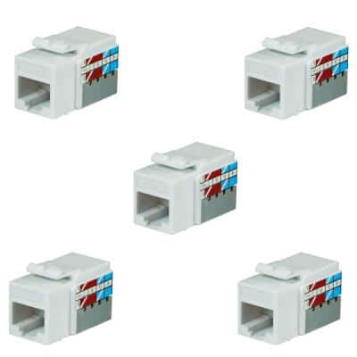 Category 5e Jack in White (5-Pack)