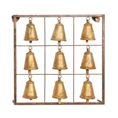 32 in. x 32 in. Brass Metal Eclectic Wall Decor