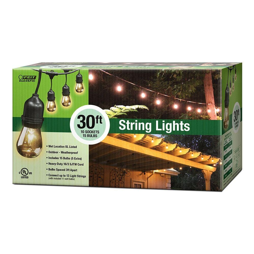 Feit Electric 30 Ft 10 Socket Incandescent Indoor And Outdoor String Light Set 72041 The Home Depot