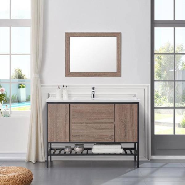 Ove Decors Memphis 48 In W X 18 In D Vanity In Taupe With Porcelain Vanity Top With White Basin Va Memp48 164oj The Home Depot