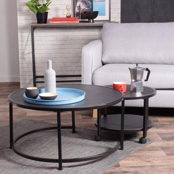 Furniturer Neka 2 Piece 34 In Black Medium Round Wood Coffee Table Set With Casters Neka Bk Lmkz The Home Depot
