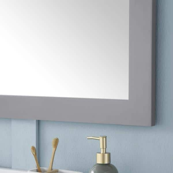 Home Decorators Collection 46 00 In W X 30 00 In H Framed Rectangular Bathroom Vanity Mirror In Pebble Grey Grace Mr Pg The Home Depot