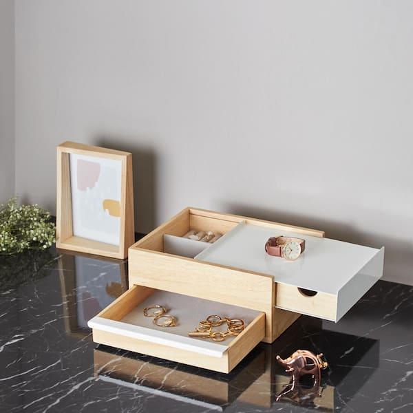 Bo/îte /à bijoux Reflexion compartiment/ée et avec miroir Blanc//Naturel /& Reflexion storage box Umbra Stowit 290245-668 Bijoutier Dimension 23.5x14x5.8cm En bois naturel et m/étal blanc