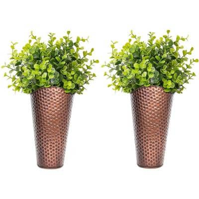 Copper Metal Hand Hammered Wall Planter Set
