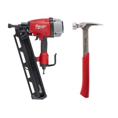 3-1/2 in. Full Round Head Framing Nailer with 22 oz. Milled Face Framing Hammer