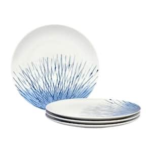 Hanabi Blue/White Porcelain Coupe Dinner Plates (Set of 4) 11 in.