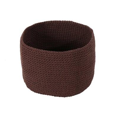 Derry Round Knitted Cotton Thread Sundries Basket, Coffee